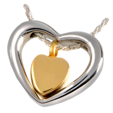 Cremation Jewelry Stainless Steel Heart of Gold Pendant