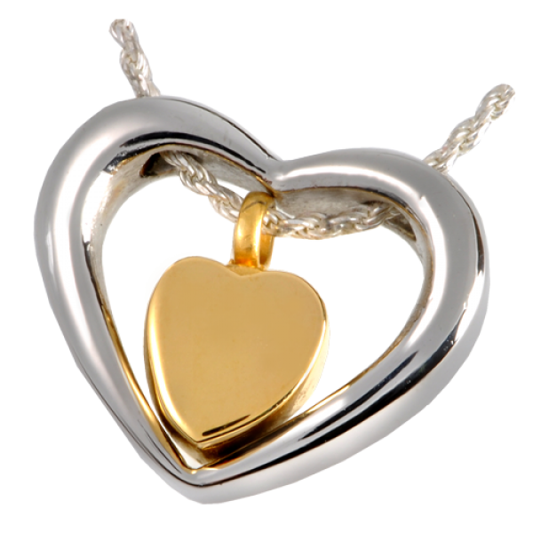 Cremation Jewelry Stainless Steel Heart Of Gold Pendant Mg 6105