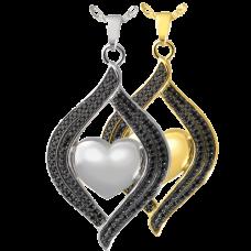 Cremation Jewelry: Teardrop Ribbon Heart Midnight Stones Pendant