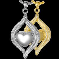 Cremation Jewelry: Teardrop Ribbon Heart Pendant