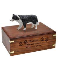 Dog Figurine Cremation Wood Urns: Border Collie