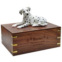 Dog Figurine Cremation Wood Urns: Dalmatian, Laying
