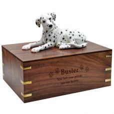 Dog Figurine Cremation Wood Urns: Dalmatian, Laying