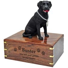Dog Figurine Cremation Wood Urns: Labrador Retriever- Black