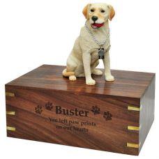 Dog Figurine Cremation Wood Urns: Labrador Retriever- Yellow