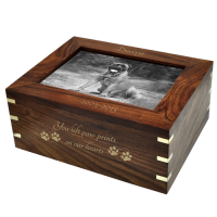 Dog Urn: Perfect Wood Box with Photo Frame, Large