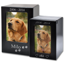 Espresso Satin-Finish Wood Pet Dog Urn Photo Window w/ Breed Figurine