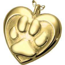 Gold Pet Cremation Jewelry: Double Heart Paw Print Pendant