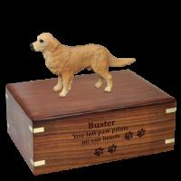 Golden Retriever Figurine Wood Urn for Pet Dog w/ Breed Figurine
