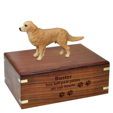 Golden Retriever Figurine Wood Urn for Pet Dog w/ Breed Figurine
