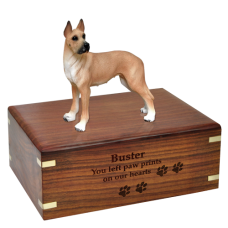 Great Dane Fawn Wood Urn for Pet Dog w/ Breed Figurine