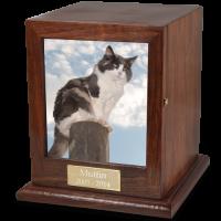 Hardwood Photo Pet Cat Urn
