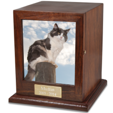 Hardwood Photo Pet Cat Urn