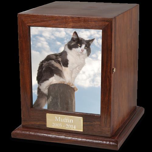 Hardwood Photo Pet Cat Urn -  - FE-SHPU, FE-LHPU