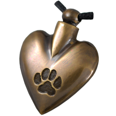 Pet Cremation Jewelry: Antiqued Brass Heart Pawprint Pendant