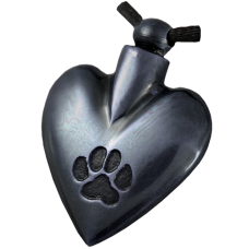 Pet Cremation Jewelry: Black Heart Pawprint Pendant