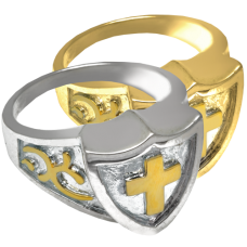 Pet Cremation Jewelry Cross Shield Ring Pendant