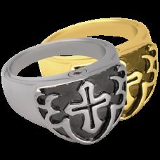 Pet Cremation Jewelry: Men's Cross Ring- Black Pendant