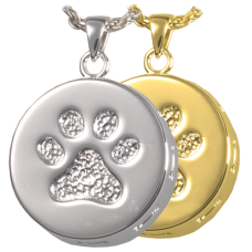 Pet Cremation Jewelry: Paw Print and Bones Urn Pendant