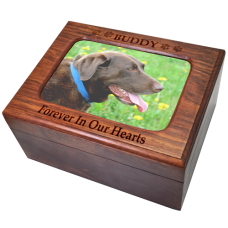 Pet Cremation Wood Urn Memory Chest Wooden Box Dog Photo Window Large