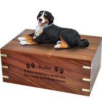 Pet Cremation Wood Urns: Bernese Mountain Dog- Laying