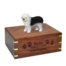Pet Cremation Wood Urns: Old English Sheepdog