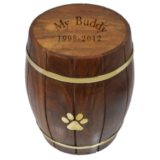 Pet Dog Cremation Urn Paw Print Wood Barrel Pet Dog Urn Breed Figurine