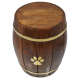 Pet Dog Cremation Urn Paw Print Wood Barrel Pet Dog Urn Breed Figurine -  - SWH-007