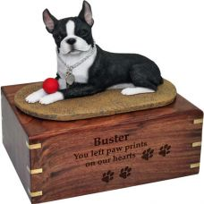 Pet Dog Cremation Wood Urn Boston Terrier with ball w/ Breed Figurine