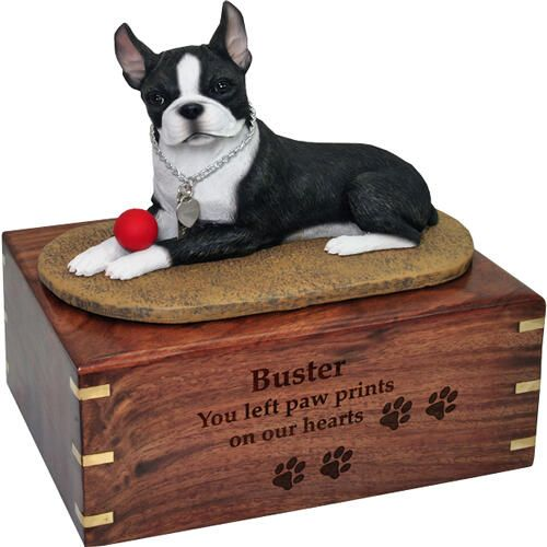 Pet Dog Cremation Wood Urn Boston Terrier with ball w/ Breed Figurine -  - SWH-003C,L-DFL12