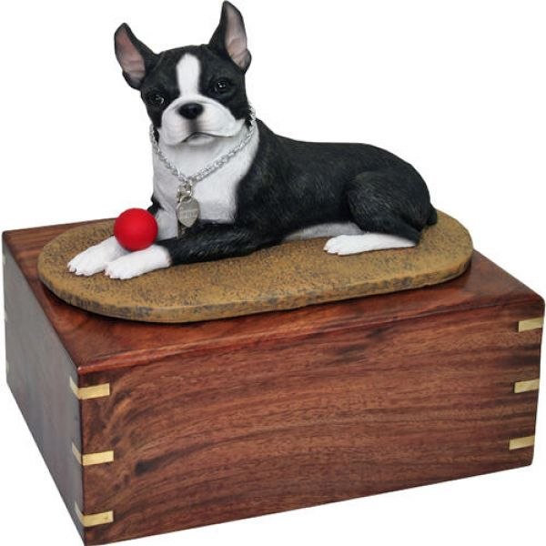 Pet Urns Pet Dog Cremation Wood Urn Boston Terrier With