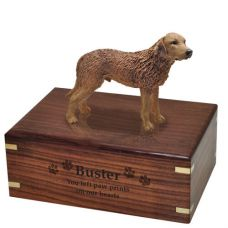 Pet Dog Cremation Wood Urn Chesapeake Bay Retriever w/ Breed Figurine