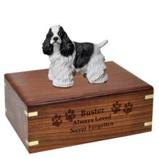 Pet Dog Cremation Wood Urn Cocker Spaniel Black & White Breed Figurine