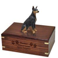 Pet Dog Cremation Wood Urn Doberman Pinscher Black Breed Figurine