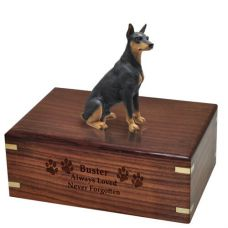 Pet Dog Cremation Wood Urn Doberman Pinscher Black Breed Figurine