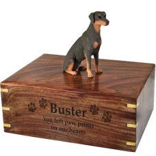 Pet Dog Cremation Wood Urn Doberman Pinscher Red Breed Figurine