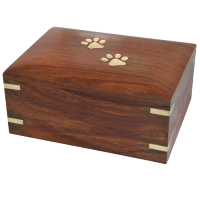 Pet Dog Cremation Wood Urn Forever Paw Prints w/ Breed Figurine