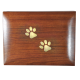 Pet Dog Cremation Wood Urn Forever Paw Prints w/ Breed Figurine -  - SWH-009