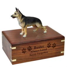 Pet Dog Cremation Wood Urn German Shepherd Tan & Black Breed Figurine