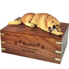 Pet Dog Cremation Wood Urn Golden Retriever- Laying w/ Breed Figurine