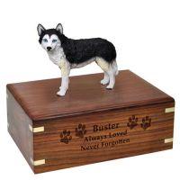 Pet Dog Cremation Wood Urn Husky Black White Blue Eyes Breed Figurine