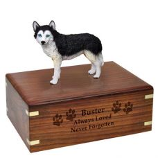 Pet Dog Cremation Wood Urn Husky Black White Blue Eyes Breed Figurine