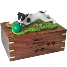 Pet Dog Cremation Wood Urn Jack Russell Terrier Black Breed Figurine