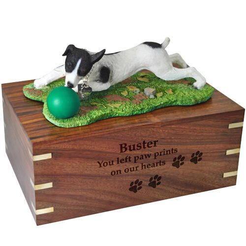 Pet Dog Cremation Wood Urn Jack Russell Terrier Black Breed Figurine -  - SWH003L-DFL105D