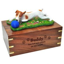 Pet Dog Cremation Wood Urn Jack Russell Terrier Brown Breed Figurine
