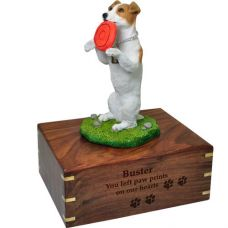Pet Dog Cremation Wood Urn Jack Russell Terrier Playful Breed Figurine