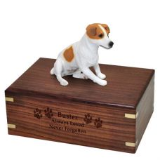 Pet Dog Cremation Wood Urn Jack Russell Terrier Sitting Breed Figurine