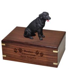 Pet Dog Cremation Wood Urn Labrador Retriever- Black w/ Breed Figurine