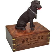 Pet Dog Cremation Wood Urn Labrador Retriever Chocolate Breed Figurine