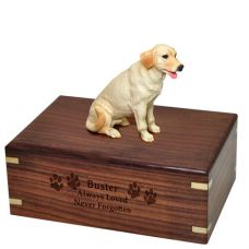 Pet Dog Cremation Wood Urn Labrador Retriever- Yellow Breed Figurine